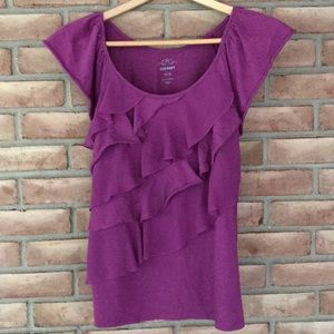 Old Navy size M purple, ruffle top with cap sleeve